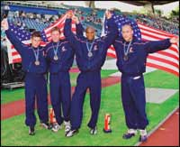 The US relay team set a new world record in the T-44 class 4 x 100m relay with a time of 43.69 seconds. From left are Danny Andrews, Brian Frasure, Roderick Green, and Marlon Shirley.  Courtesy Hanger Prosthetics & Orthotics Inc.