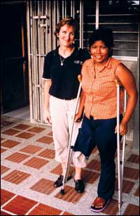 Debbie Plescia, CPO, and patient following Blanca's first prosthetic consult.