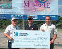 Wright & Filippis Founder Anthony Filippis Sr. (left) and President A.J. Filippis (right) present Steve Peck, chairman of the Miracle League of Michigan, with a $25,000 contribution to help kick off the campaign drive to build a state-of-the-art adaptive baseball field in suburban Detroit.
