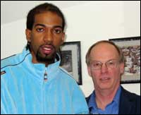Richard �Rip� Hamilton pictured with Jerry McHale, CO. Photo courtesy of the Detroit Pistons, Allen Einstein photographer.