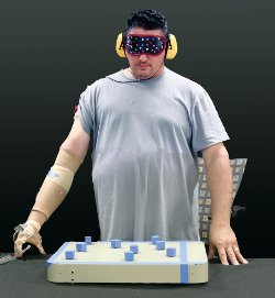 blindfolded testee