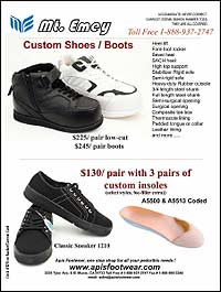 Apis Footwear Mt. Emey custom shoes and boots have heel lifts, forefoot rockers, bevel heels, SACH heels, high top support, stabilizer rigid soles, ...